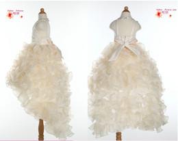 Livraison Gratuite Empire V-Neck Wasit / Perles / Cristaux Ruché Organza Anniversaire Pageant Mariage Salut-lo Fleur Robes de Filles ? partir de fabricateur