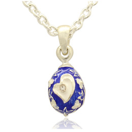 Wholesale Faberge Egg Pendant - Mini silver plating heart Love Faberge Egg pendant Handcrafted Enamel Crystal paved Russian Egg Pendant Necklace for Easter