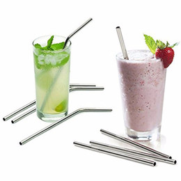 More size straight and bend stainless steel straw and cleaning brush reusable drinking straw bar drinking tool