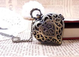Wholesale Heart Shaped Watch Necklace - hot sale Heart shaped Antique quartz pocket watches necklace ,Halloween christmas gift 6pcs   lot free shipping
