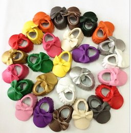 Wholesale Purple Bowknot - New Arrival High Quality Toddlers Moccasins Wholesale Man Made Soft Pu Leather baby Walker Shoes Europe Style Bowknot Design Infants Shoes
