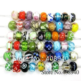 Wholesale Wholesale European Charm Braclet Beads - Wholesale-Free Shipping 14mm Mix Style Mix Color Glass Bead Big Hole Loose Beads fit European Jewelry Braclet Charms DIY