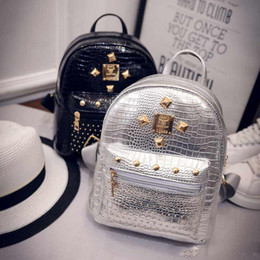 Wholesale Cheap Wholesale Designer Bags - Christmas gift bag New designer backpack rivert Pu leather teenage student book school bag cheap price
