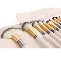 Wholesale Complete Cosmetic Set - The Professional Gold 18-pieces Complete makeup brush set - High Quality Elite Beauty Cosmetic Tools Blender Kit & White Cream Case DHL Free