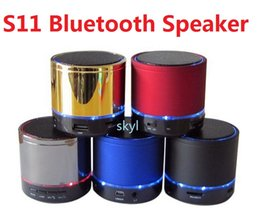 Wholesale Bluetooth S11 - Bluetooth Mini Speaker Outdoor Speakers S11 LED Lighting Handfree Mic Stereo Portable Speakers TF Card Call Function Free DHL