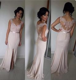 Argentina Vestidos elegantes elegantes de la dama de honor de la sirena del color de rosa Gasa sin mangas del cuello del amor con los vestidos de la correa Vestidos formales del partido largo 2016 cheap nude pink mermaid dress Suministro
