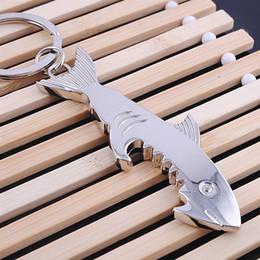 Wholesale Bottle Shaped Opener - High-grade Alloy keychain Shark shape Bottle Opener Beer Bar Tool Keychain jewelry Alloy Bar Keyring Keyfob Pub gift