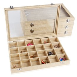Wholesale Display Tray Necklace - 35x24 Multifunctional Linen Jewelry Display Case Storage Box Organizer Tray Box With Glass Lid For Necklace Bangle Ring Earring