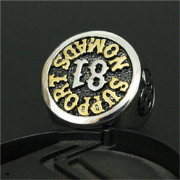 Wholesale Golden Anniversary - 1pc Newest Design Golden 81 Biker Ring 316L Stainless Steel Fashion Jewelry Golden Men Boy Punk Ring