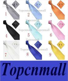 Wholesale Silk Handkerchief Ties - free shipping Men's Tie Cuff Links Handkerchief Set 100% SILK New Christmas Gift