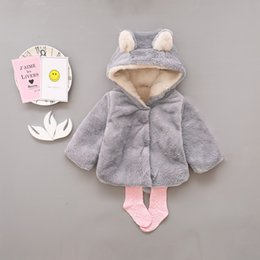 Wholesale Bear Warmer - Baby Girls Coat Winter Warm Bear Style Coat Cloak Jacket Thick Warm Clothes Baby Girl Cute Hooded Coats