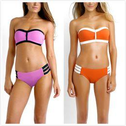 Wholesale Plus Size Bandeau Bras - Latest Women's Neoprene Bikini Strapless Swimsuit Bandeau Bra Swim Wear Plus Size Biquinis bathsuit beachwear S-L