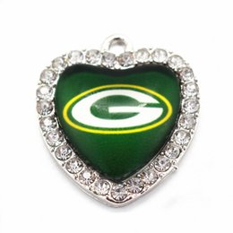 Wholesale Designs Floating Charms - 10pcs lot New design football Team Sports Glass Pendant Heart Crystal Floating Charms Dangle Charms Fit Necklace Jewelr