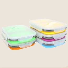Wholesale Wholesale Square Dishes - SFoldable Silicone Lunch Box Square Keep Fresh Bento Boxes High Capacity Easy To Clean Lunchbox Universal 16jr B R