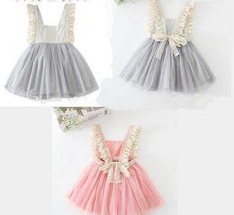 Wholesale Tulle Slips - 2016 Kids Girls Tulle Lace Bow Party Dresses Baby Girl TuTu Princess Dress Babies Korean Style Suspender Dress girls slip dresses