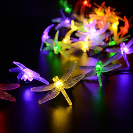 Wholesale Solar Dragonflies - Wholesale-20LED 8Modes Solar Dragonfly Fairy String Lights for Halloween Lights,Gardens,Homes,Wedding,Christmas Party,Waterproof