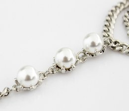 Wholesale Wholesale Hollywood Fashion - Wholesale-Cool silver color imitation Pearl Bracelet Chain Vintage Hollywood Crystal Blue Braided Bangles & Bracelets fashion jewelry