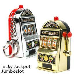Wholesale Game Slot Machine - Retail Novelty Mini Casino Slot Machine Keychains With Game Luminous Vocalization Key Chains Key Rings Free Shipping
