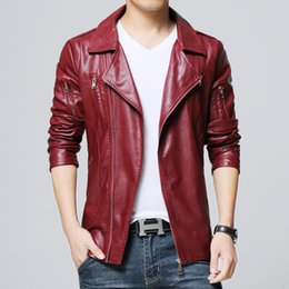 Wholesale mens slim fit down coat - Wholesale- Autumn New Jackets Men Fashion 2017 Slim Fit Casual Faux Leather Motorcycle Jacket Turn Down Collar Solid Plus Size Mens Coats