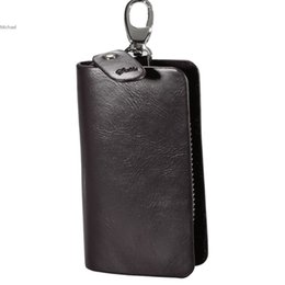 Wholesale Key Holder Leather Case Solid - Hot Sale ! Fashion Men Synthetic Leather Wallet Solid Clutch Coin Purse Holder Keychain Cover Car Key Case 30