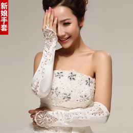 Wholesale Crystal Party Gloves - High Quality White Beads Crystal Above Elbow Length Wedding Party Bride Gloves Satin Girl Gloves With Crystal Bling Free Shipping shj
