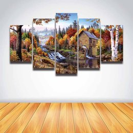 Discount pictures forests - 5 Panel Canvas Painting HD Prints Forest Wooden House Landscape Modular Picture for Home Decor Living Room