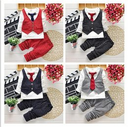 Wholesale 18 Month Christmas Outfit - 2016 Fashion Baby Boy Clothes Sets Gentleman Suit Toddler Boys Clothing Set Long Sleeve Kids Boy Clothing Set Christmas Outfits