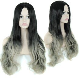 """Wholesale Curly Cheap Tone Wigs - 30"""" Long Curly Fake Hair Cheap Synthetic Ombre Wig Celebrity Grey Two-Tone Female Wavy Wigs for African American Black Women"""