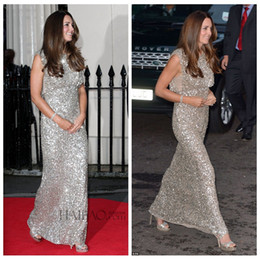 Wholesale Kate Middleton Sheath Dress - 2016 Dazzling Bling Bling Sliver Sequined Kate Middleton Formal Evening Party Gowns Custom Online Formal Women Mother Wear