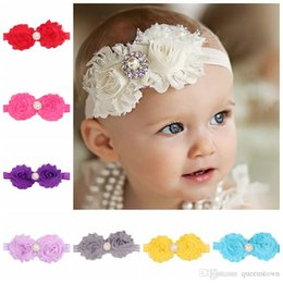 Wholesale Chiffon Shabby Flowers Pearl - Shabby Flowers Baby Headbands Chiffon Fabric Flower Pearls Rhinestones Button 14 Colors Children Hair Accessories 20PCS LOT Free Shipping