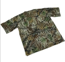 Wholesale Camouflage For Hunting - Wholesale-Outdoor men's bionic Camouflage t-shirt plus size round neck bionic Camouflage short-sleeve t-shirt for hunting fishing