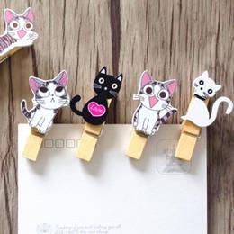 Canada 10pcs / Lot Japon style Mignon chat clips en bois + corde Mini joli clip alimentaire Kawaii bois clip pour sac Les outils de bricolage des étudiants Offre