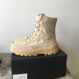 Wholesale Military C - EMS DHL free REAL PICTURE 2017 Top quality genuine leather New kanye season4 Suede military desert Boots Desert Tactical Boots