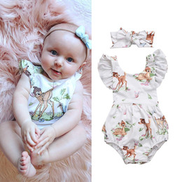 Wholesale Kids Cotton Headbands - Newborn baby girl toddler flower romper deer jumpsuit headband outfit kid clothing girls lovely floral animal bodysuit sunsuit 0-24M