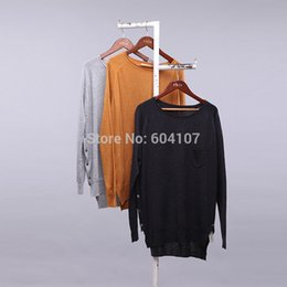 Wholesale Fine Knit Sweaters - Wholesale- Women's Lightweight Knitted Pullover Top Split New Solid Casual Basic Long Sleeve Loose Fine Asymmetric Ladies Crew Neck Sweater