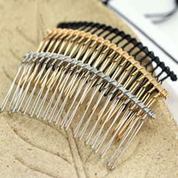 Wholesale hair tooth comb - Wholesale-10pc lot 37*78mm Black   KC Gold  Rhodium 20 Teeth Wedding Bridal DIY Wire Metal Hair Comb Clips Hair Findings Accessories Y971