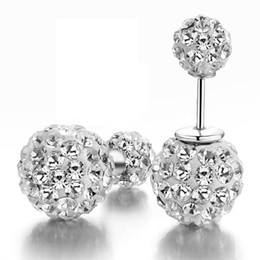 Wholesale Earrings Sterling Silver Round Ball - 925 sterling silver items crystal Shamballa stud earrings jewelry double ball charm wedding round circle charms
