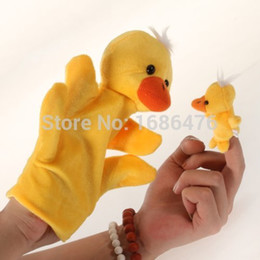Wholesale Duck Puppets - Wholesale-Free shipping Yellow Duck Hand Puppet Finger Puppet Gift