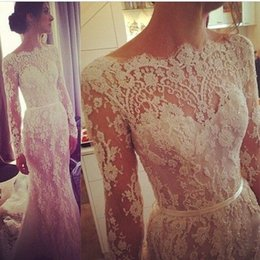 Wholesale Transparent Beaded Wedding Dress - Long Sleeve A Line Cheap Wedding Dresses 2017 Illusion Steven Khalil Transparent high neck Beaded Lace Court Train Bridal Wedding Gowns