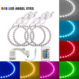 télécommandes volvo Promotion LEEWA 4pcs / set voiture LED RGB Angel yeux Halo Ring Light télécommande sans fil pour Volvo S40 phare # 5271