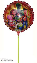 Wholesale Toy Story Stick - New arrivel 20pcs lot 21*21cm toy story balloon with stick Aluminium foil cartoon balloon for birthday party decoration