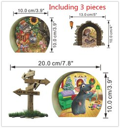 Wholesale modern stages - 3D Cute Mouse hole cartoon wall stickers creative bedroom living room mice on Stage wall Decals 3 pieces 1lot