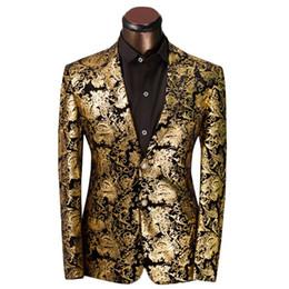 Smoking dourado on-line-Homens de luxo Terno Padrão Floral Dourado Terno Homens Jaqueta Fit Prom Ternos Smoking Festa de Casamento Da Marca Jaqueta Blazer