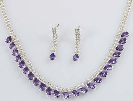 Wholesale Dt Crystal - more color crystal drops chain wedding bride set necklace earings (88) dt t