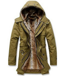 Wholesale Trench Coat Fur Hood - Fall-Faux fur lining men fur trench coat with hood winter warm long jacket thermal parkas plus size M-XXXL Free Shipping MWM218