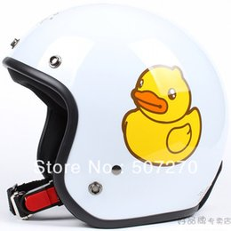 "Wholesale Motorcycle Half Helmet Yellow - Wholesale-E.47 3 4 Taiwan "" EVO "" Retro Bicycle Half Face Helm Motorcycle ""B.DUCK"" White # Yellow Helmet & UV"