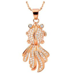 Wholesale Goldfish Female - Female Pendant Chain Necklace clavicle explosion models natural jewelry simple selling fashion 925 silver inlaid micro goldfish Pendant