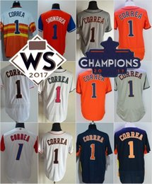 Wholesale Road Stars - Houston #1 Carlos Correa Navy Blue Gray Road WBC White Pink Orange Showrrea All-Star Stitched 2017 WS Champions Strong Patch Jerseys