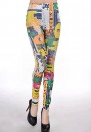 Wholesale Graffiti Leggings For Sale - Hot Sale Color Stripes Alphabet Graffiti Seamless Leggings For Women LC79320 new 2015 sexy summer -autunm leggings for women