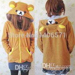 Wholesale Rilakkuma Coat - Wholesale-New Winter coat Anime Rilakkuma Cute Hoodies Cosplay Costume Ears Yellow Bear Sweatshirt Jacket free shipping